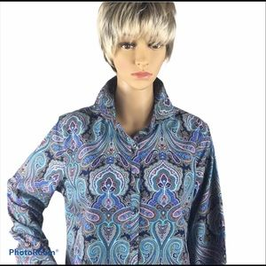 Lands End multi-color paisley print shirt